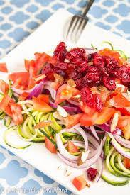 summer zucchini noodle salad with honey dijon mustard dressing