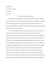miguel de cervantes reader response to don quixote natalie arias 3 pages the role of dulcinea in don quixote