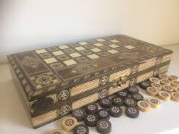 Board Games In Wooden Box Handmade wooden box outside chess board inside backgammon 55