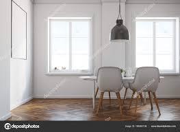 Weiß Esszimmer Holzboden Plakat Seitenansicht Stockfoto