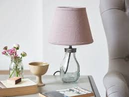 mini milk bottle table lamp with thistle shade