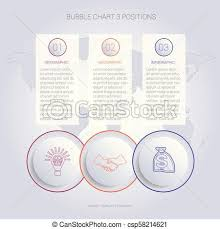 Web Chart Template Infographics Color Bubble Chart Template For 3 Positions