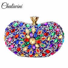 <b>Chaliwini</b> Evening Diamond Two side Floral <b>Woman Clutch Bag</b> ...