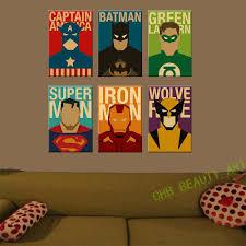 Superhero Bedroom Decorations Aliexpresscom Buy 6 Piece Superhero Canvas Painting Modern Home