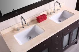 extra large bathroom vanity with double square white deep undermount sinks stainless steel faucets light brown