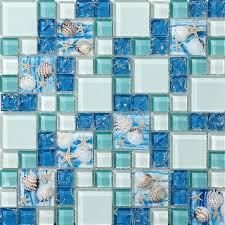 glass mosaic tstgt370tst mosaic tiles glass conch tiles beach style sea blue glass tile glass mosaics