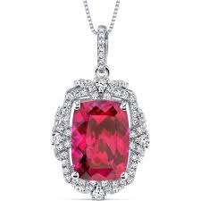 women s sterling silver vintage 9 0 carat cushion ruby pendant w box chain