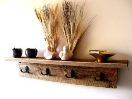Shelf And Coat Rack Natural Brown Wooden Floating Shelf Combined With Double Black Hooks 97