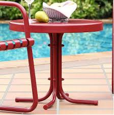 retro metal side table in c red