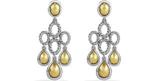 lyst david yurman sculpted cable chandelier earrings with gold domes in metallic