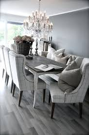 grey rustic dining table with beautiful fabric chairs the bination is modern and elegant love the gray floor too