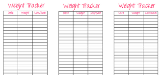 Weight Tracker Chart Printable Printable Weight Trackers Under Fontanacountryinn Com