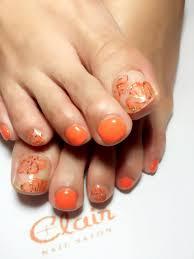 Clair Okinawa Nailくれえるネイル夏間近爽やかオレンジフット