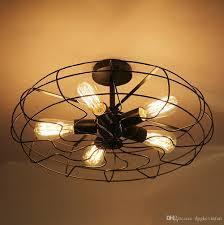 Großhandel Loft Vintage Kreative Beleuchtung Lampen Amerikanischen Landhausstil Minimalistischen Industriellen Fan Kronleuchter Persönlichkeit Eisen