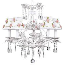 cinderella 5 light chandelier with bulb cover shade finish white shade white with