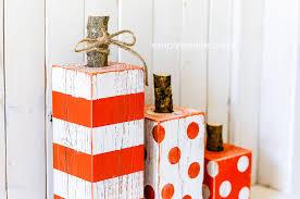 4x4 Wood Crafts 4x4 Post Striped Polka Dot Pumpkins Simplykierstecom