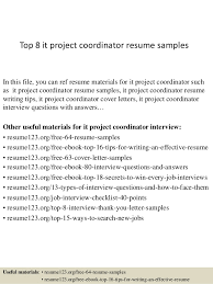 Top 40 It Project Coordinator Resume Samples Amazing Project Coordinator Resume