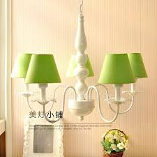 5 light modern green fabric shade chandeliers wrought iron