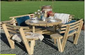 8 seat round wooden picnic table with back rests used good condition 2