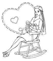 Disegno Barbie Mamma Con Piccolino Su Sedia A Dondolo Disegni Da