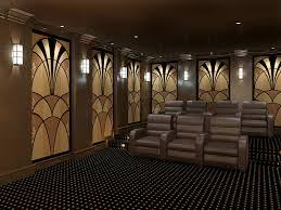 home theater acoustic panels. art deco acoustic panels in a modern theater home