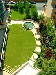 Truncated angled oval lawn in a long narrow garden design. | Garden Plans &  Ideas | Pinterest | Narrow garden, Lawn and Gardens