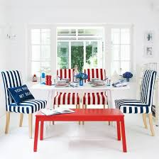 eclectic dining room designs. Colorful Modern Dining Room Design In White, Red And Blue Colors, Different Chairs With Stripes Eclectic Designs