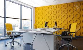 Yellow Office Modern Office Interior With Yellow Funishing 3d Rendering