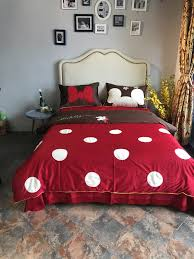 red polka dot mickey head duvet cover bedding sets