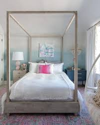 Gray Wood Canopy Bed with Mismatched Nightstands - Transitional ...