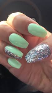 Nail Designs With Mint Color Nails Mint Green And Silver Mint Nails Silver Nails Mint