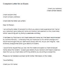 complaint letter examples complaint letter for an exam sample just letter templates