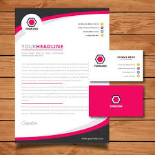 Pink Letterhead And Business Card Vector | Free Download