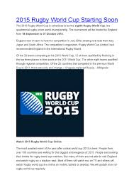 2015 Rugby World Cup Results Chart 2015 Rugby World Cup Starting Soon By Ashutosh Kumar Gupta