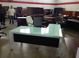 glass desk office furniture. Picture Of Chiarezza Glass L-Desk, 72\ Desk Office Furniture