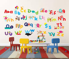 bright and colorful alphabet educational wall decor for kids nonagon style