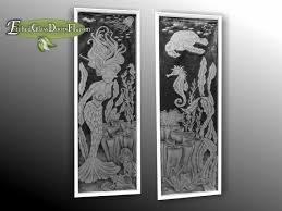 custom glass etching a mermaid and turtle on front entry doors