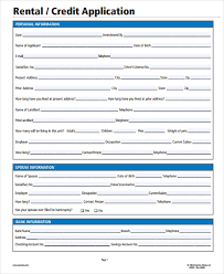 Rental Credit Application 28 Rental Application In Pdf Free Premium Templates