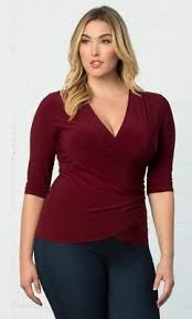 Kiyonna Womens Top Plus Size 4x Red Femme Fatale Style Faux