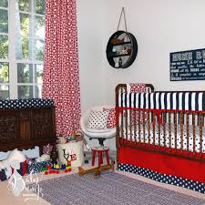 navy and red crib bedding for boys