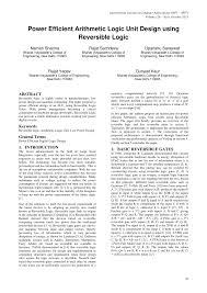 Arithmetic Logic Unit Design Pdf Power Efficient Arithmetic Logic Unit Design Using