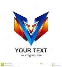 Letter V Templates Initial Letter V Logo Template Colored Blue Orange 3d Shield Design