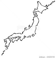 日本地図 手書き 書 筆絵のイラスト素材 10420739 Pixta