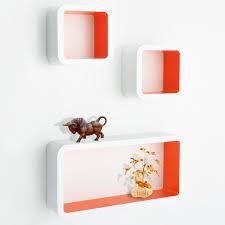 Floating Cube Shelves Uk casa pura Floating Cube Shelves Oxford Set of 100 WhiteOrange 48