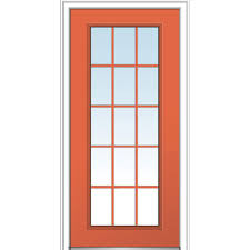 classic left hand inswing 15 lite clear external grilles painted fiberglass smooth prehung front door