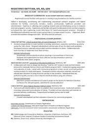 sample resume. Registered Dietitian