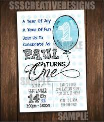 first birthday invitation card turning one printable digital diy 1083 sss creative designs