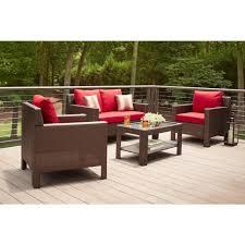 hampton bay beverly 4 piece patio deep seating set with cardinal cushions
