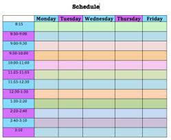 Blank Schedule Editable Blank Colored Weekly Schedule