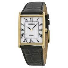seiko solar white dial black leather men s watch sup880
